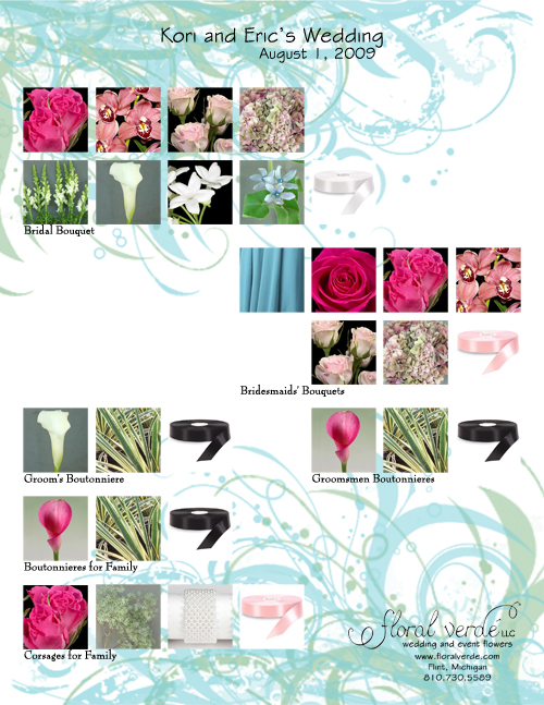 Tiffany blue and pink personal flowers inspiration board