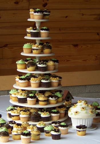 Cupcake tower by the Sweet and Savory Bake Shop in Oxford, Michigan