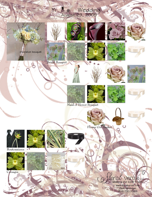 lavender and green flower inspiration board