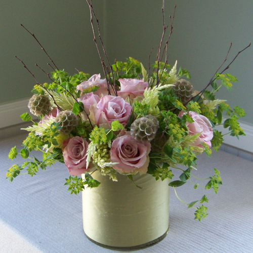 get well arrangement with birch branches, scabiosa pods, Faith roses, feather celosia, and bupleurum