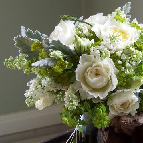Bridal Bouquet With âu20acœPatienceâu20ac David Austin Garden Roses, White  Lisianthus, White ...