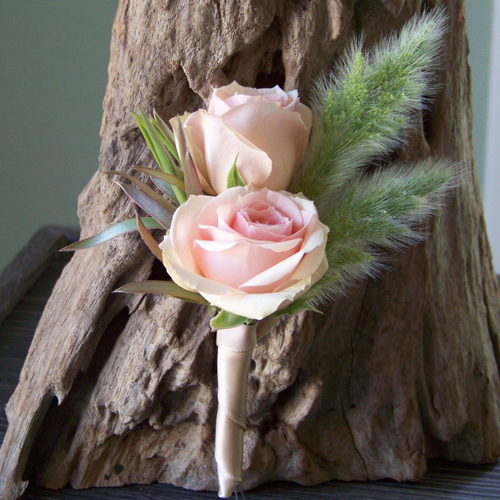 boutonnieres with Star Blush spray roses, green leucadendron, and bunny tail grass wrapped with beige satin