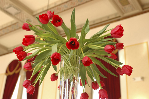 red tulip centerpiece by Floral Verde LLC, photo by Mattson Pictures