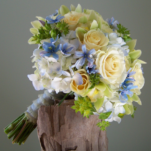 bridesmaid bouquet with tweedia, pale blue hydrangea, Cream Prophyta roses, green mini cymbidiums, and bupleurum