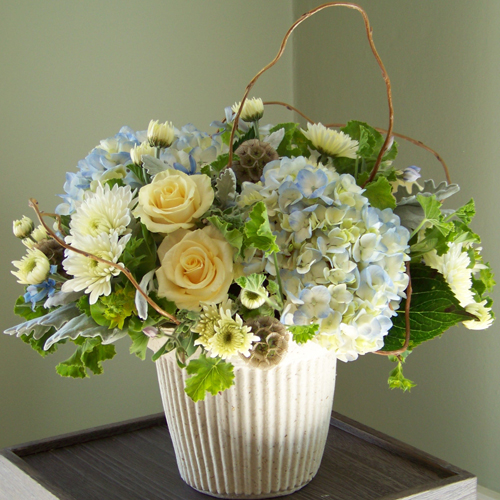 Low centerpiece with tweedia, pale blue hydrangea, Cream Prophyta roses, Polaris cushion poms, bupleurum, geranium, scabiosa pods, and curly willow in a Recreations mache urn