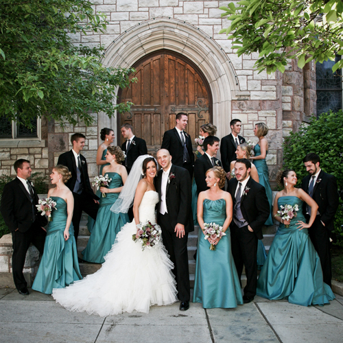 the bridal party in front of the First Presbyterian Church of Flint