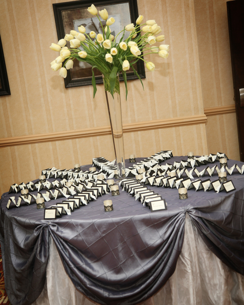Maureen French tulips graced the escort card table