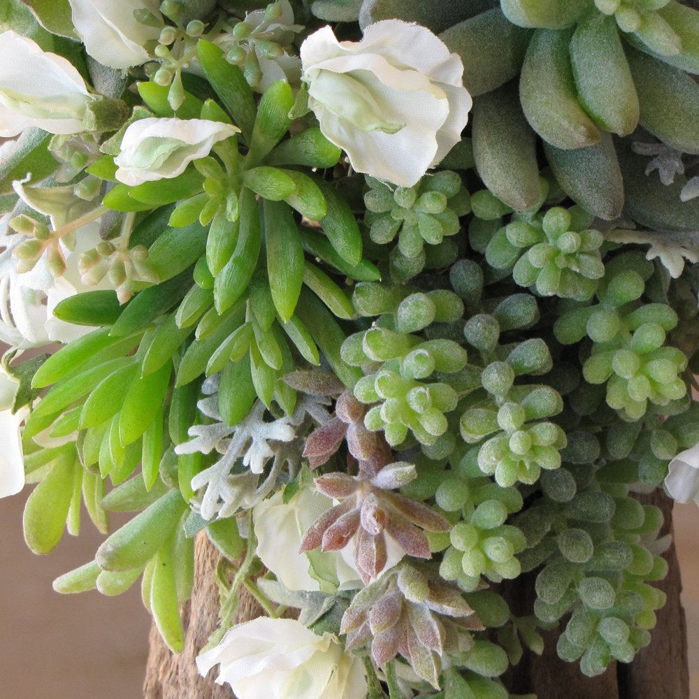 Silk bridal bouquet with white sweet peas, succulents, sedum, donkey tail, seeded eucalyptus, and dusty miller