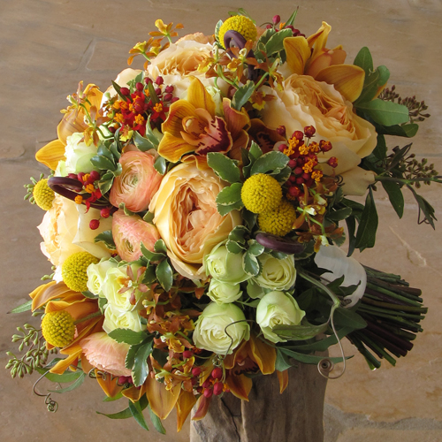 bridal bouquet with uluhe fern curls, chocolate cymbidiums, Oncidioda Chaculatum, asclepias, peach ranunculus, Caramel Antike garden roses, Creamy Eden spray roses, craspedia, mini variegated pittosporum, seeded eucalyptus, and passion vine