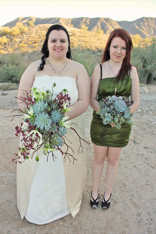 bride and her bridesmaid, wedding on South Mountain, in Phoenix, Arizona