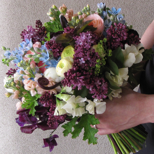 just picked bridal bouquet with uluhe fern shoots, deep purple sweet peas, plum ranunculus, lilacs, tweedia, scented geranium, alchemilla, cream ranunculus, ivory sweet peas, peach stock, and peach ranunculus, for a ceremony in Phoenix, Arizona