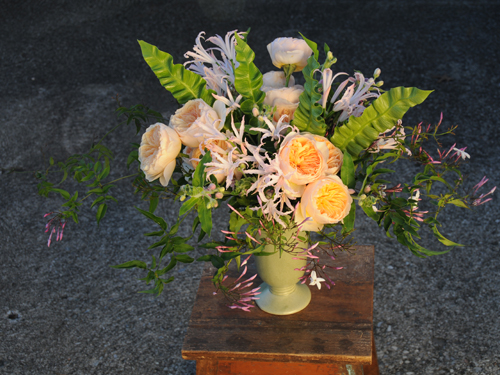 Centerpiece with Juliette garden roses, blush nerine lilies, pink tweedia, jasmine vine, and Asplenium 'Crispy Wave' foliage, by Floral Verde LLC, Cincinnati, OH.