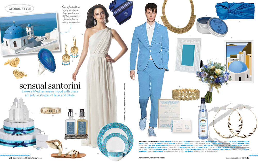 Floral Verde's blue bouquet featured in Destination Weddings & Honeymoons magazine