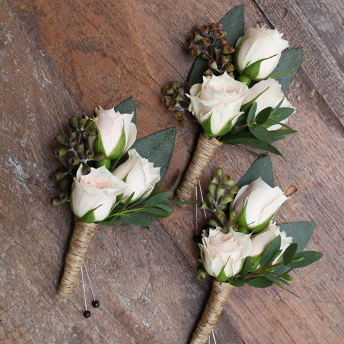boutonnieres with White Majolica spray roses, seeded eucalyptus and gunnii eucalyptus, finished with a twine wrap