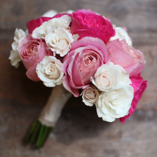 Bouquet of Baronesse garden roses, Romantic Antike garden roses and White Majolica spray roses by Floral Verde LLC, Cincinnati, OH