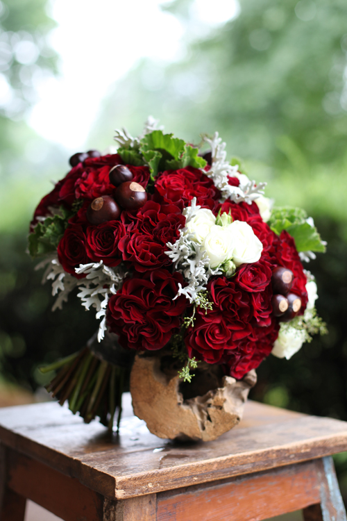 scarlet and gray bridal bouquet with Hearts roses, Rubicon spray roses, Snow Flake spray roses, buckeyes, dusty miller, scented geranium and seeded eucalyptus, for a ceremony in Hamilton, Ohio, by Floral Verde LLC
