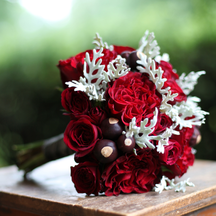 scarlet and grey bridesmaid bouquet with Hearts roses, Rubicon spray roses, buckeyes and dusty miller