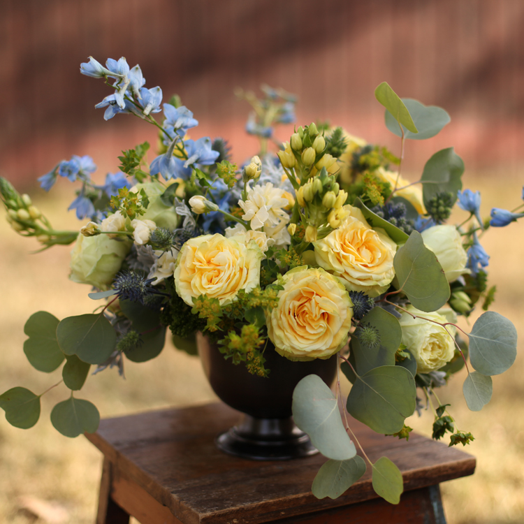 Centerpiece with bella donna delphinium, eryngium, round leaf eucalyptus, dusty miller, green trachelium, bupleurum, Yellow Finesse roses, Lime Piano garden roses and yellow ornithogalum in a footed bowl, by Floral Verde LLC in Cincinnati, OH.