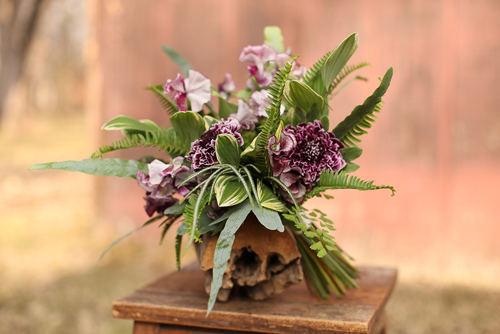 Woodland inspired bridesmaid bouquet by Floral Verde LLC in Cincinnati, Ohio, with Pretty Purple Japanese scabiosa, Wiltshire Ripple sweet pea, Blue Star fern, Silver Lace fern, green trachelium, green ranunculus, Kimberly Queen fern, variegated Polygonatum odoratum variety pluriflorum and Maidenhair fern.