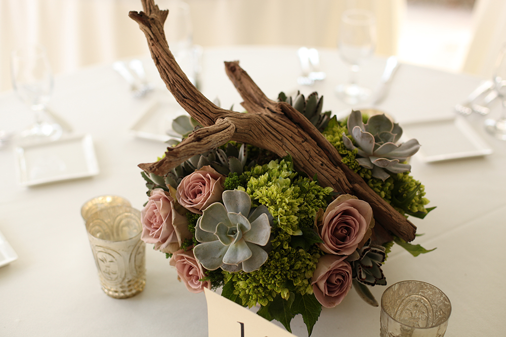 Woodland centerpieces at Krippendorf Lodge, by Floral Verde LLC in Cincinnati, Ohio, with ghost wood branches, succulents, Amnesia roses, Echeveria lilacina, Kalanchoe tomentosa, green hydrangea, Green Trick dianthus and green trachelium in a birch bark pot.