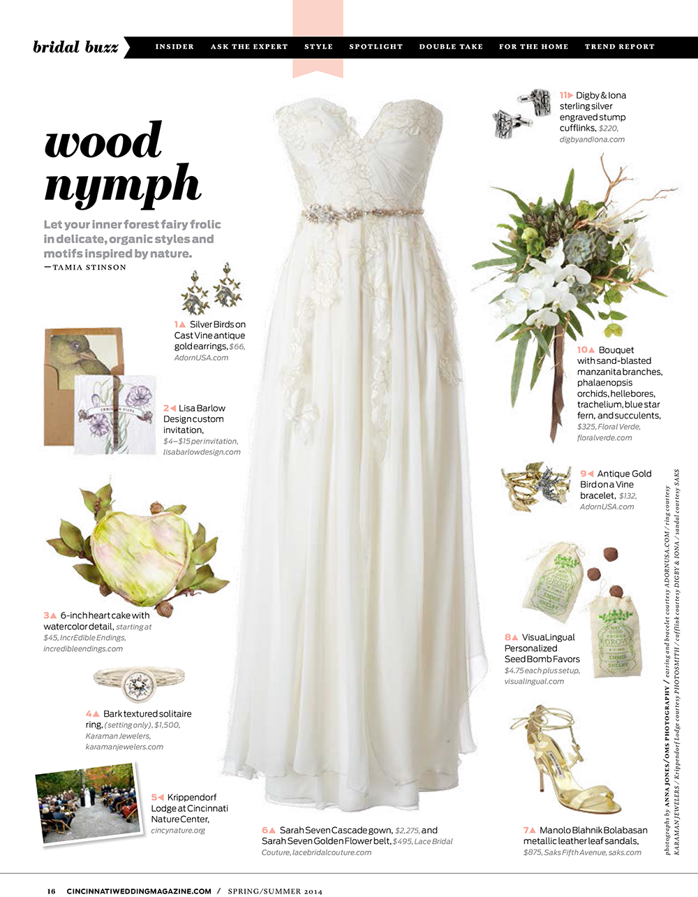 Wood Nymph style sheet by Tamia Stinson in Cincinnati Wedding Magazine Spring/Summer 2014 issue. Bouquet by Floral Verde LLC Cincinnati, Ohio.