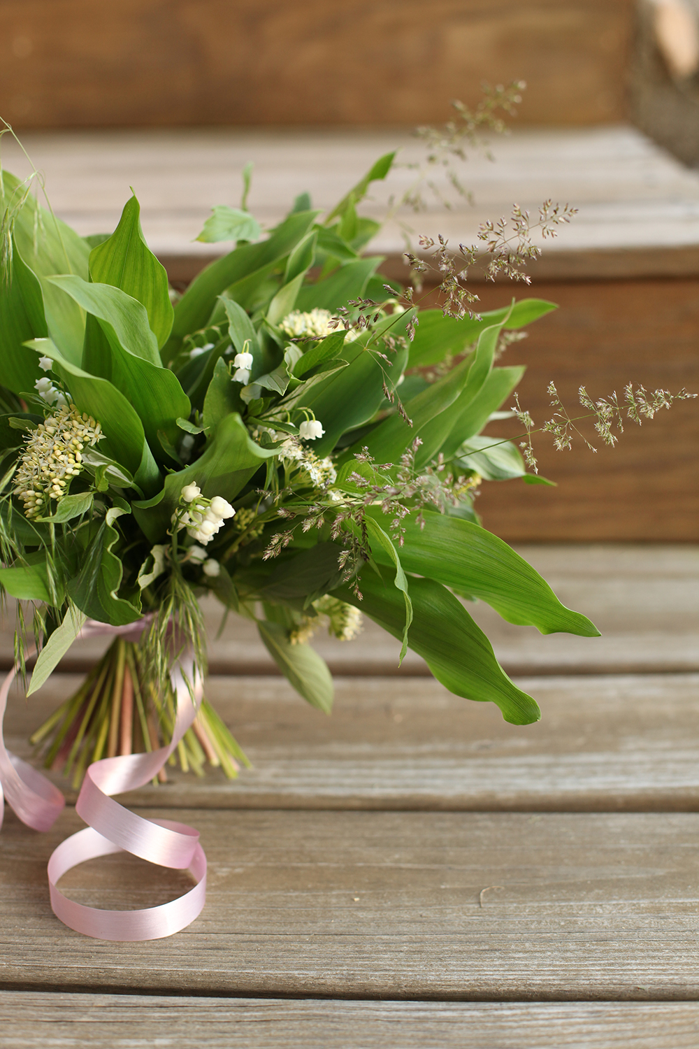 rustic bouquet, by florist Floral Verde LLC in Cincinnati, Ohio; with lily of the valley, viburnum and grass