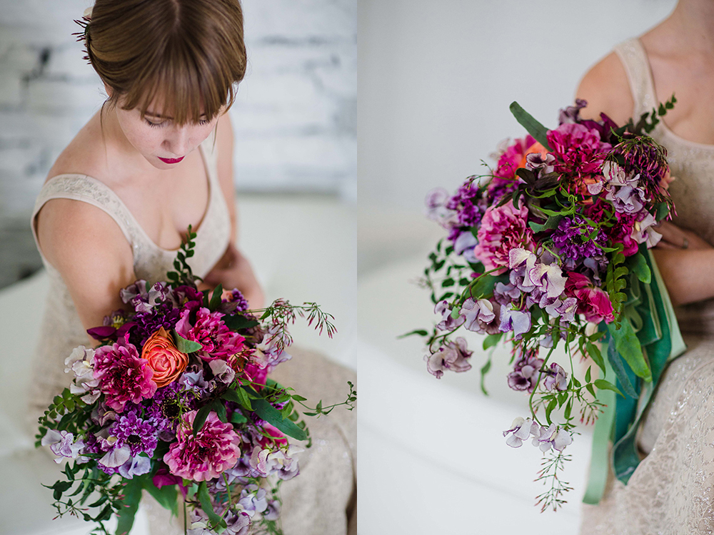 Cascading bridal bouquet with purple Japanese scabiosa, purple hellebores, Silvery Moon Japanese sweet pea, Charlotte ranunculus, peach ranunculus, jasmine vine and blue star fern, accented with vintage velvet and grosgrain cascading ribbons. Images by Leah Barry Photography .Flowers by Cincinnati wedding florist Floral Verde LLC.