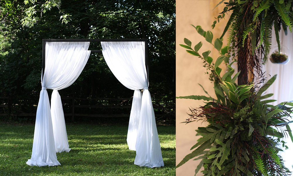 Modern Steel Chuppah & White Voile Curtains