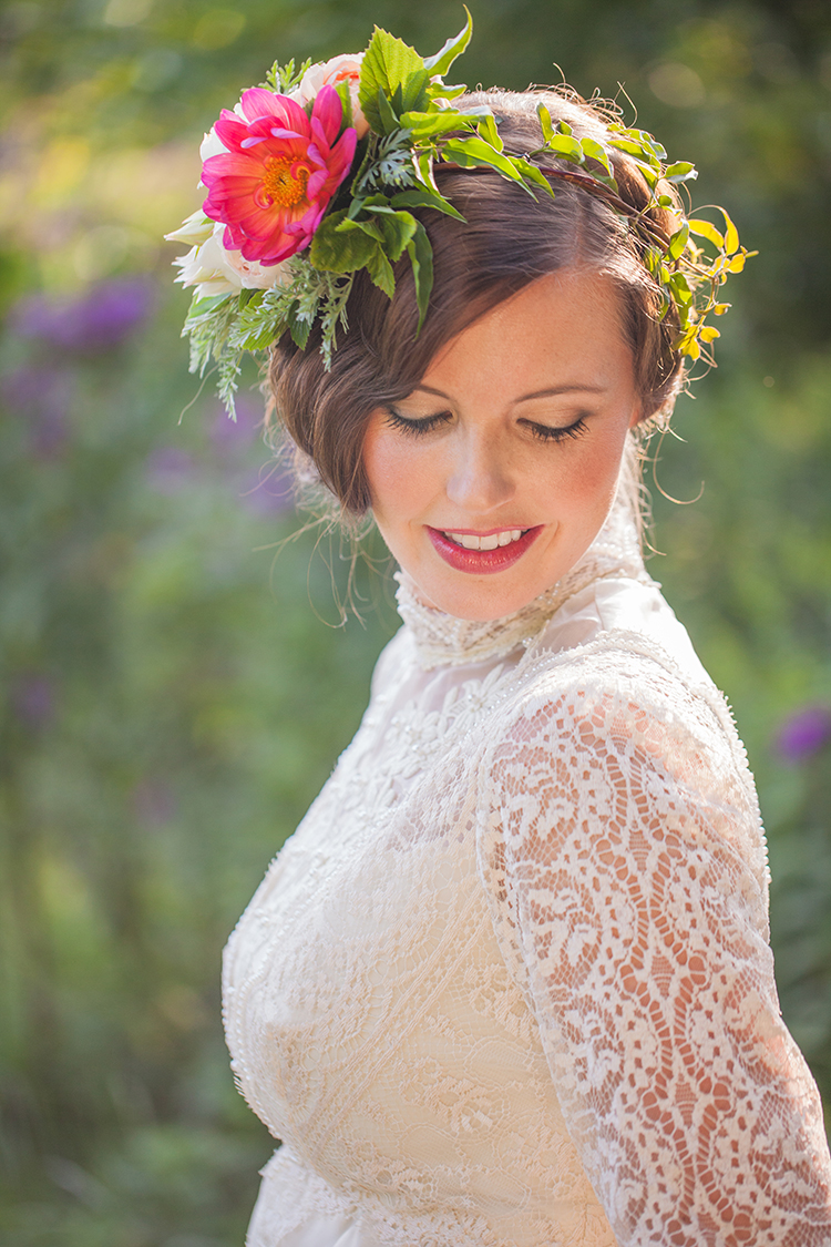Flower crown with coral dahlias by Cincinnati florist Floral Verde. Image by Magic Memory Works Photography.