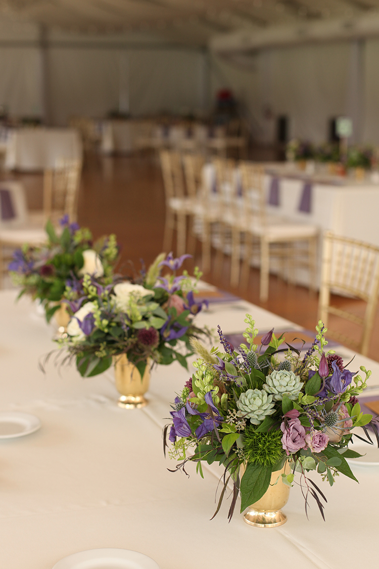 Lavender centerpieces at Pinecroft Mansion, by Cincinnati wedding florist Floral Verde LLC.