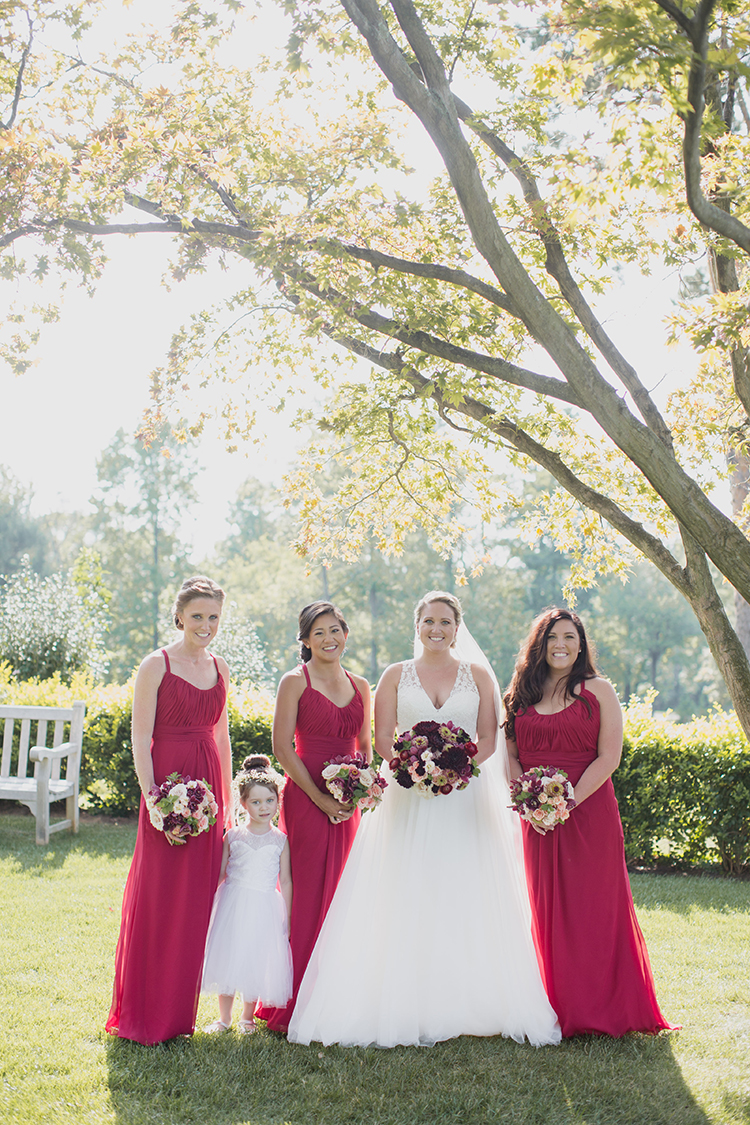 Bride and bridesmaids at Pinecroft Mansion, Cincinnati, Ohio. Flowers by Floral Verde LLC. Photo by Carly Short Photography.