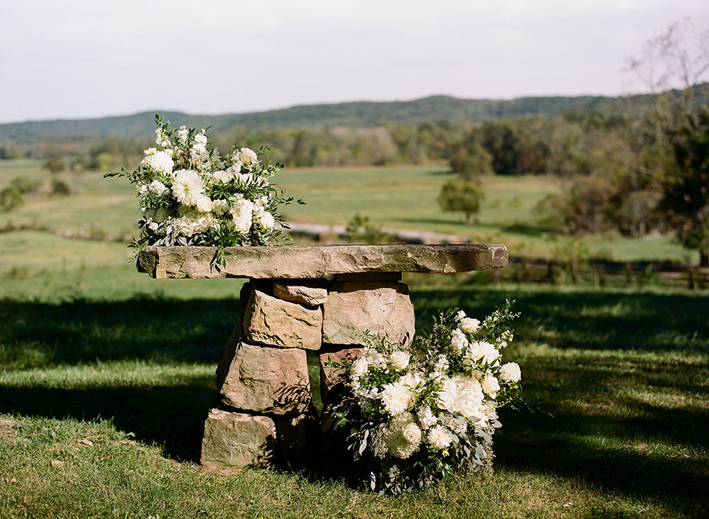 Wedding Ceremony at a Private Farm in Hillsboro, Ohio. Flowers by Floral Verde. Photo by Lane Baldwin Photography.