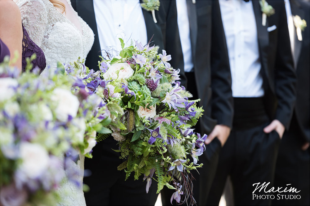 Wedding portraits at Eden Park, Cincinnati, Ohio.  Flowers by Floral Verde. Photo by Maxim Photo Studio.