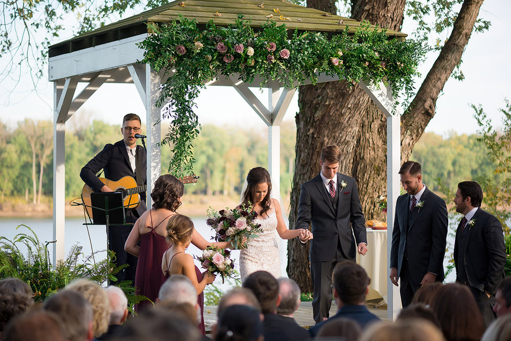 Wedding ceremony under the gazebo at The Inn at Oneonta. Image by Magic Memory Works Photography. Flowers by Floral Verde.