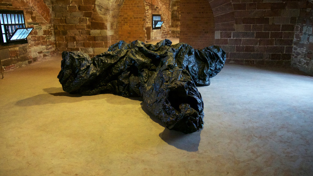 La Mancha Negra I , Plastic, mixed-media, motors, 2018. Installation in Castle William, Governors Island, New York, NY