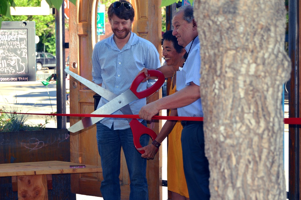 Boulder City Council Members Andrew Shoemaker, Mary Young and George Karakaehian at the ribbon cutting ceremony for the City of Boulder's first parklet.