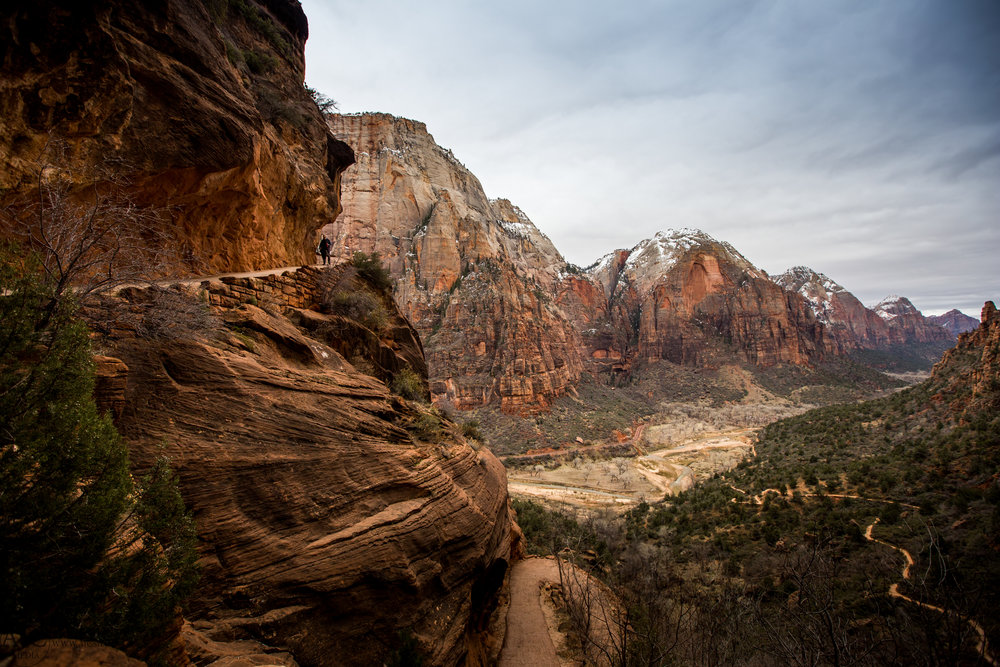 The walkway to Angels Landing is pretty unreal, it essentially switchbacks directly upwards along a wall of rock.