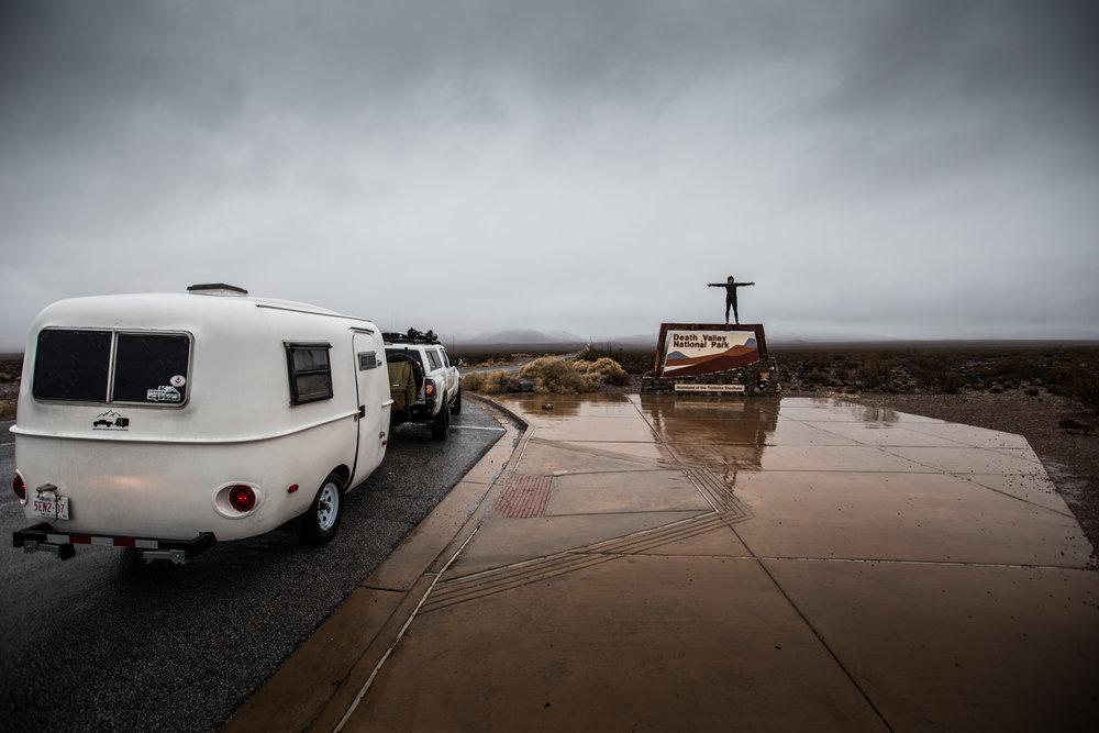 Entering rainy Death Valley.