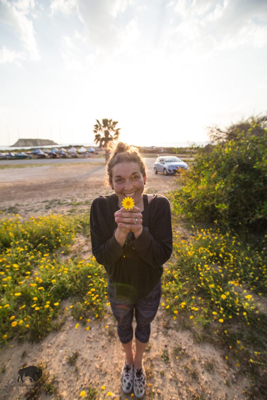 Pretty flowers, pretty girl.