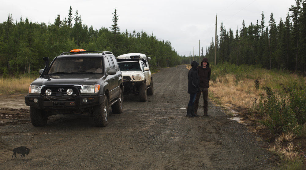 Waiting in the rain for a pilot car back at the Alaska Highway.
