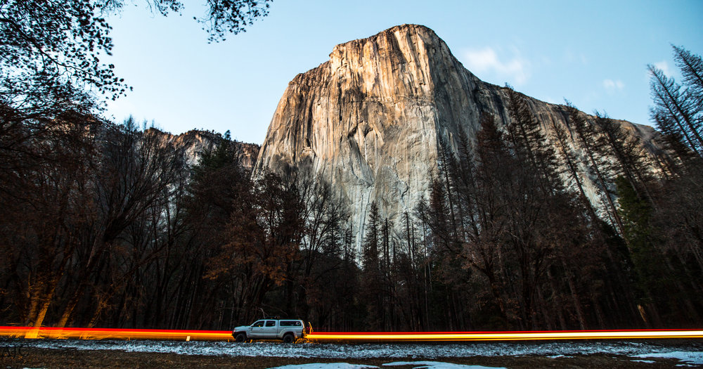 One of my favorite long exposures.  I managed to include El Cap, my truck and some rad light work in the same photo.