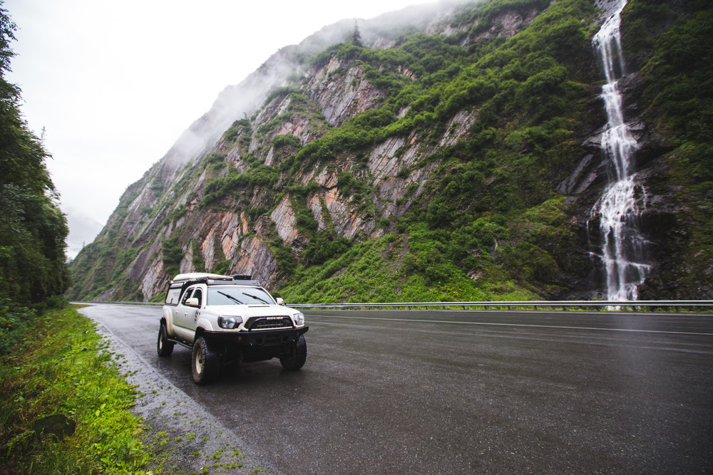 Driving into Valdez is through Keystone Canyon is an experience every road warrior should have.
