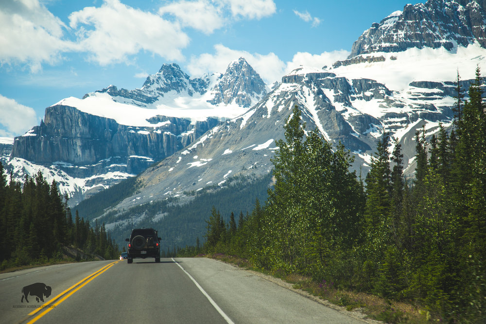 Another friend from the road, Alex Bodogan, leads the way as we travel down the Icefields Parkway in Banff National Park.