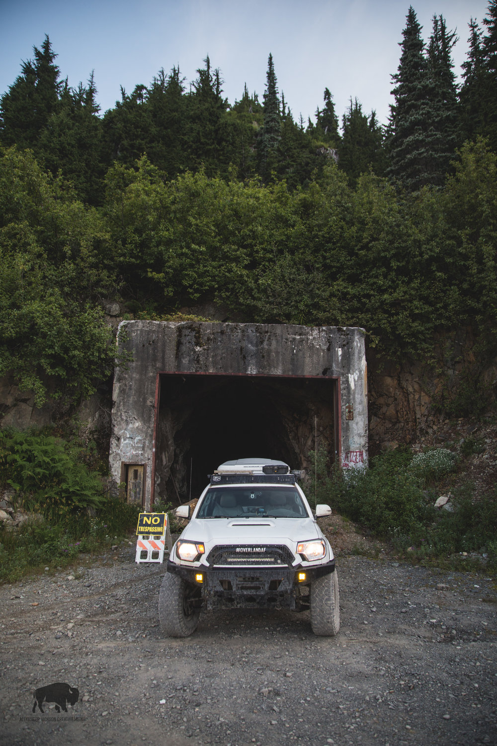 This tunnel used to go through which would allow mining traffic to pass through during the winter because the road ran through an avalanche path.