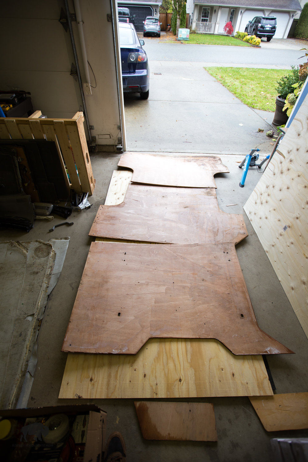 Next on the list was putting in a new sub floor.  Luckily the van provided a subfloor template which I simply traced, this cut down on a lot of extra measuring and expedited the process of putting in the floor.