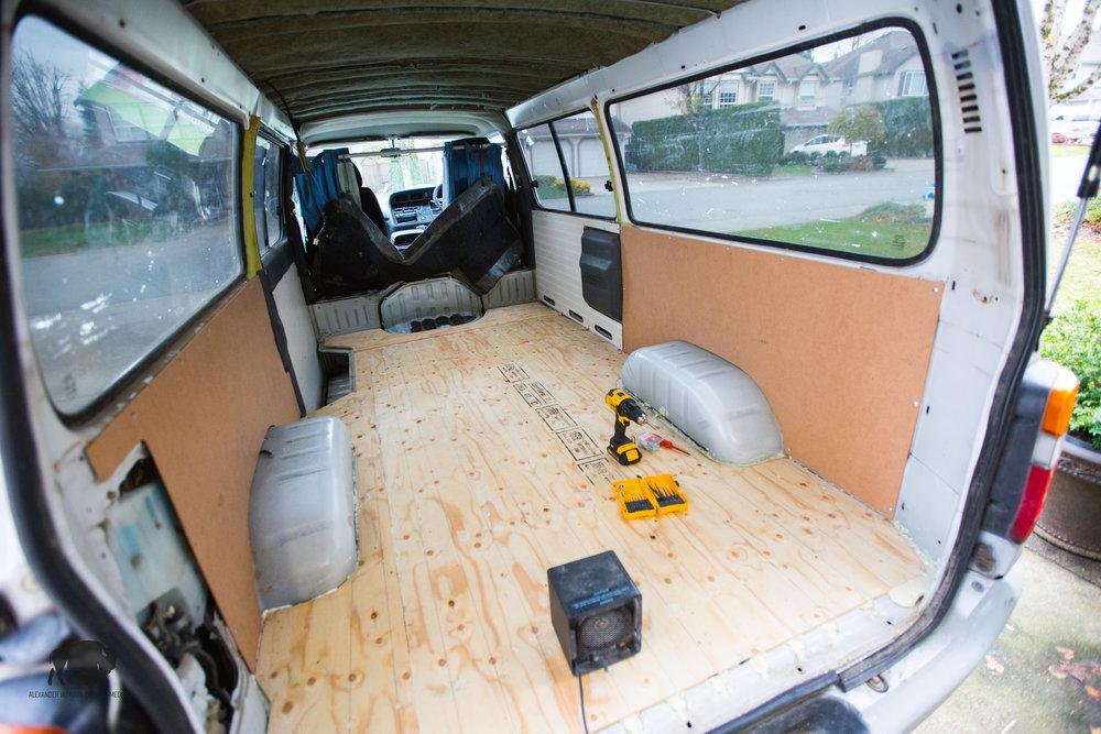 Hardboard in place.