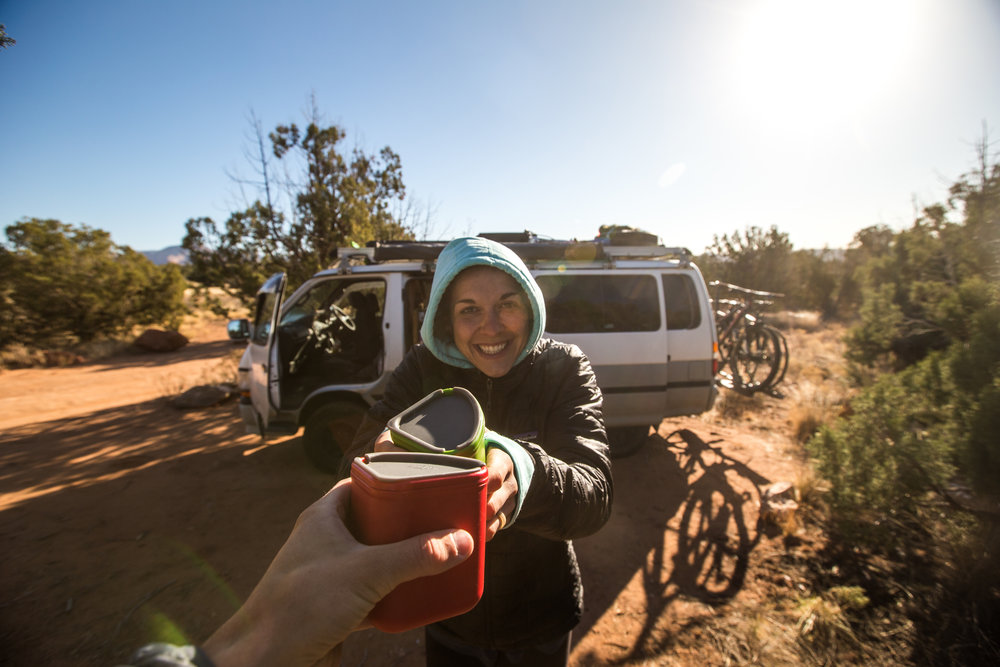 Staying in Sedona was a cold experience.  We tried to park the van in such a way that the morning sun would warm us as we woke up, but our attempts weren't always successful, luckily we had hot drinks.