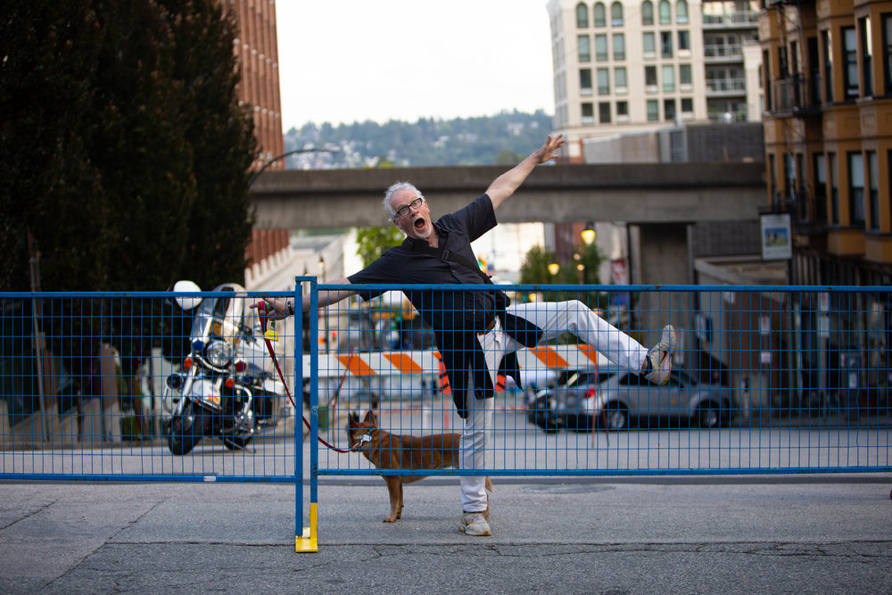 My dad being my dad at the New Westminster Criterium