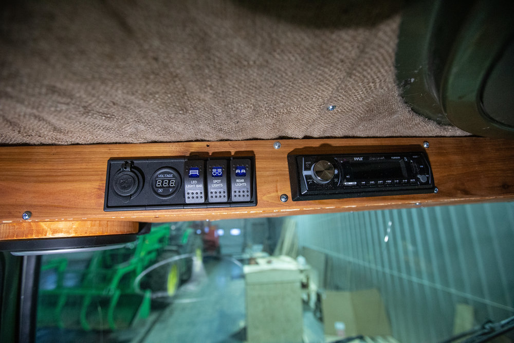Disregard the switch labels, they'll be changed to controls for the stereo, interior lights and exterior door lights.