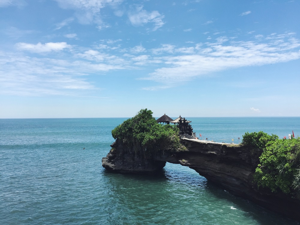 Tanah Lot is a temple located on rocks in the ocean and is one of the most spectacular temples in Bali.